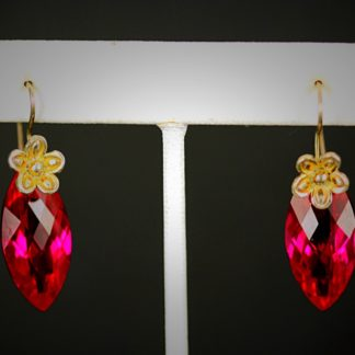 Red Quartz & Gold Earrings