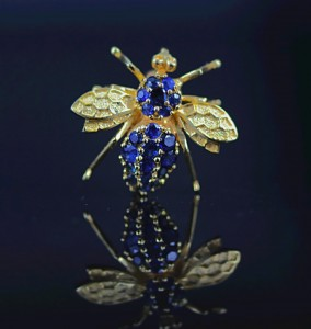 Gold & Sapphire Bee Pin
