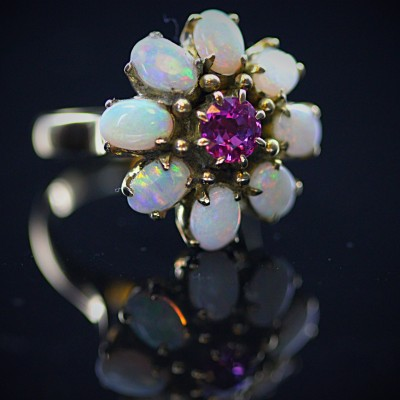 Opal & Ruby Flower Ring